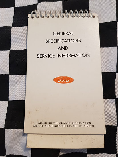 Ford XR Falcon General Specifications & Service Information Booklet