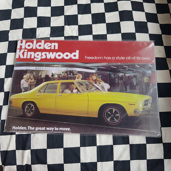 Tin Sign Repro 20x30 Holden HQ Kingswood Ad
