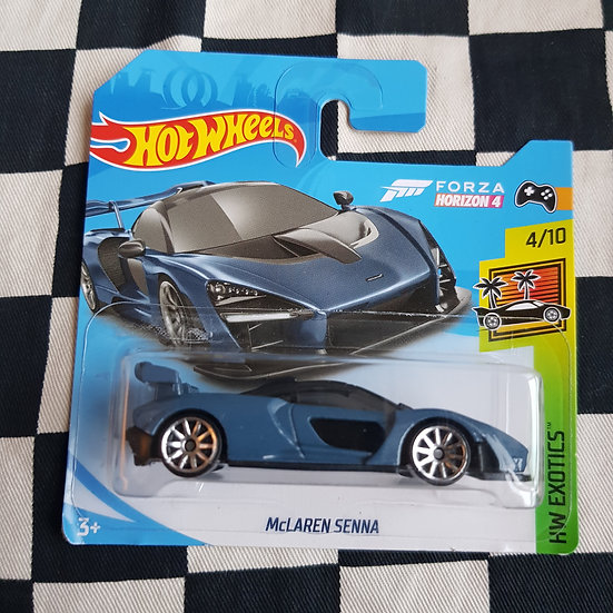 Hot Wheels 2019 Exotics McLaren Senna Forza Blue Short Card