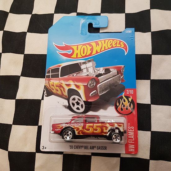 Hot Wheels 2015 Flames 55 Chevy Bel Air Gasser Red
