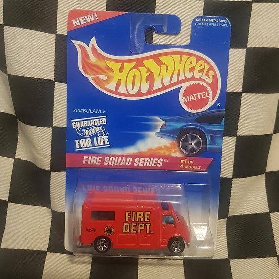 Hot Wheels 1995 Fire Squad Series Fire Dept Ambulance