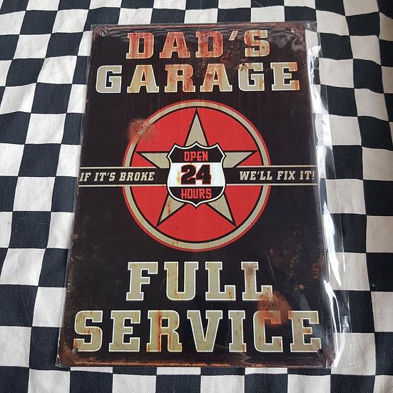 Tin Sign Repro 20x30 Dads Garage Full Service