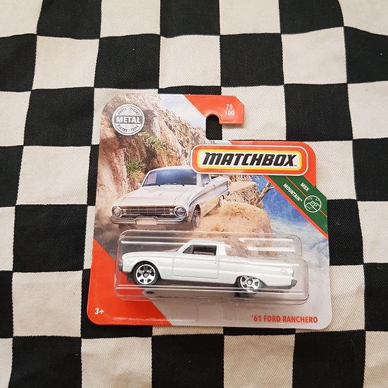 Matchbox 61 Ford ranchero White Xk Falcon Ute Short Card