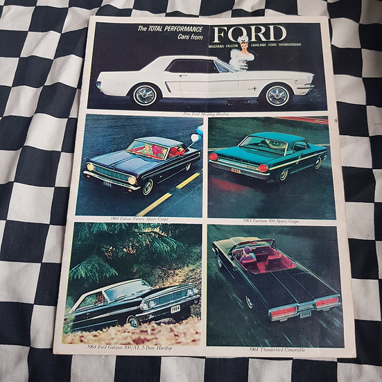 1964 Ford Total Performance Sales Brochure Mustang Falcon Fairlane Galaxie Tbird