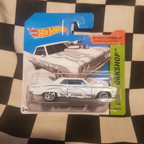 Hot Wheels 2014 Workshop 64 Chevy Chevelle SS White Short Card