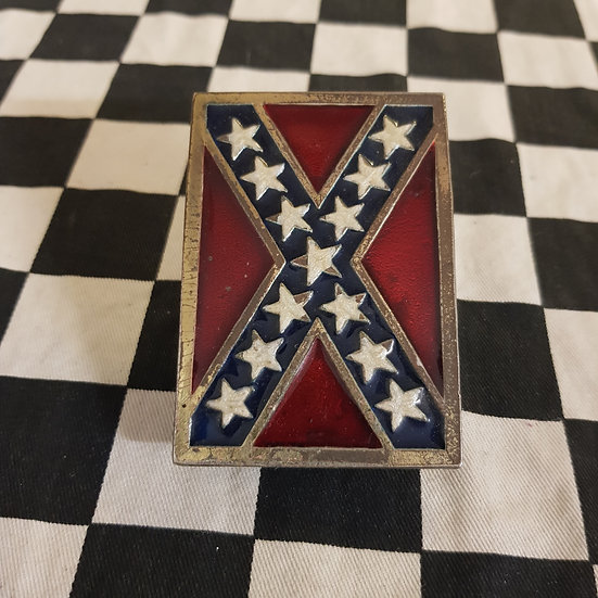 Vintage Brass Enamel Confederate Rebel / Dixie Flag Belt Buckle Dukes of Hazzard