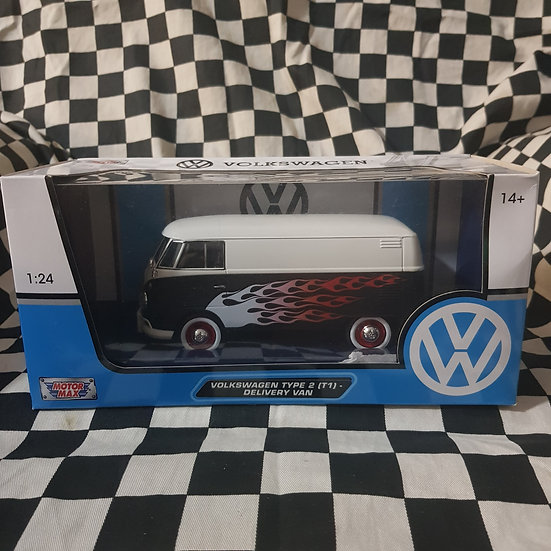 1:24 Scale Volkswagen Kombi  Type 2 T1 Delivery Van Black/White Flames