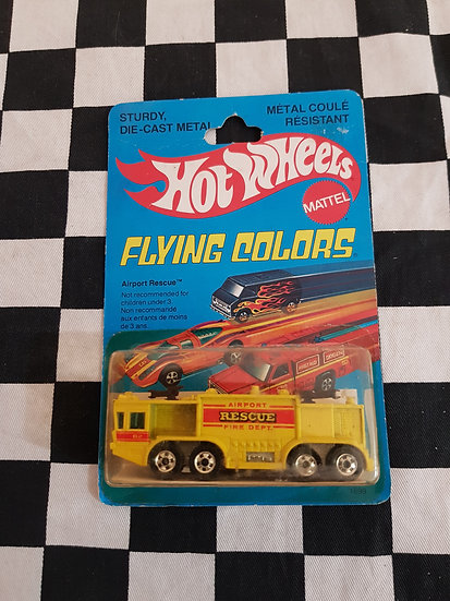 Vintage Hot Wheels 1979 Flying Colours Airport Rescue Fire Truck Blackwalls