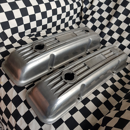 Nice Old School Cal Custom Style Set Chev Rocker Covers SBC