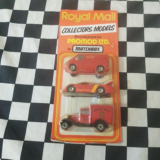 Matchbox 1987 Royal Mail 3 Car Collector Set Transit Model A Ford Group C Racer