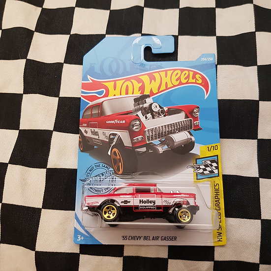 Hot Wheels 2019 Speed Graphics HOLLEY 55 Chevy Bel Air Gasser