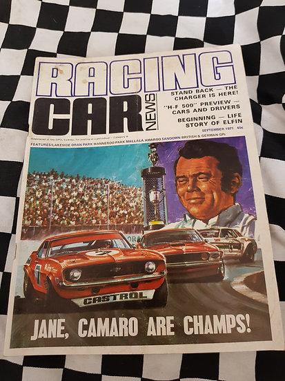 RACING CAR NEWS 9/71 Bob Jane Camaro