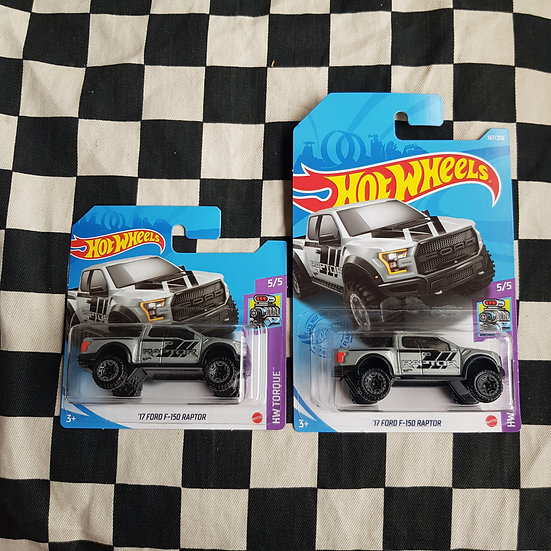 Hot Wheels 2021 Torque 17 Ford F 150 Raptor Grey Short/Long card
