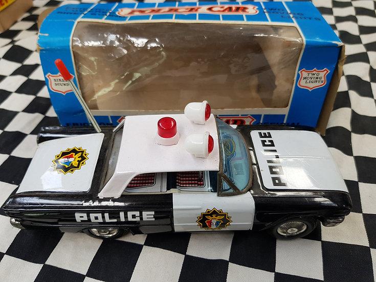 Vintage Tin icheko Friction powered Ford Police car Rare