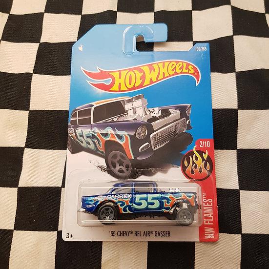 Hot Wheels 2015 Flames 55 Chevy Bel Air Gasser Blue