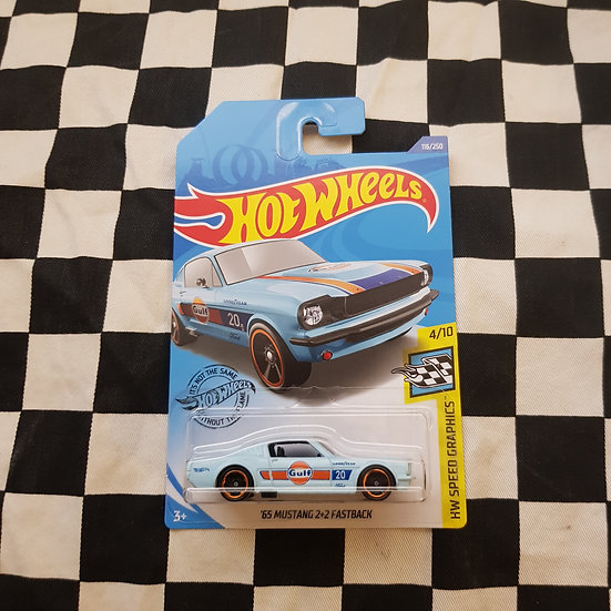 Hot Wheels 2020 Speed Graphics Gulf 65 Mustang Fastback Blue