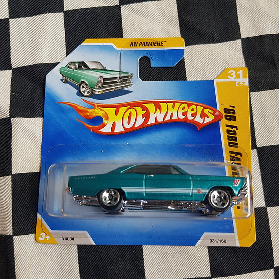 Hot Wheels 2009 First Edition 66 Ford Fairlane GT Teal Short Card