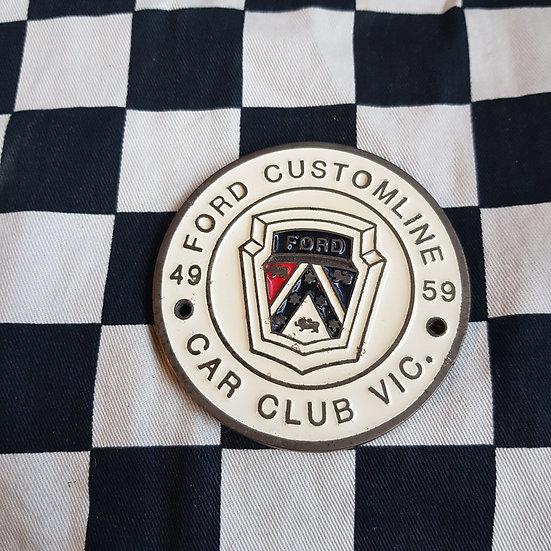 Ford Customline Club of Vic 49-59 Plaque/Badge