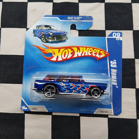 Hot Wheels 2009 Heat Fleet 55 Nomad Blue Chev Short Card