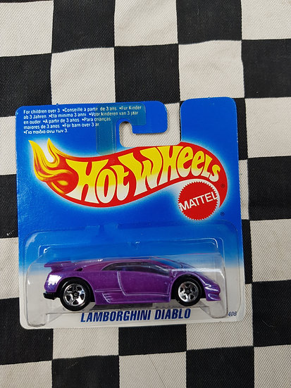 Hot Wheels 1995 Short Blue Card Lamborghini Diablo Purple