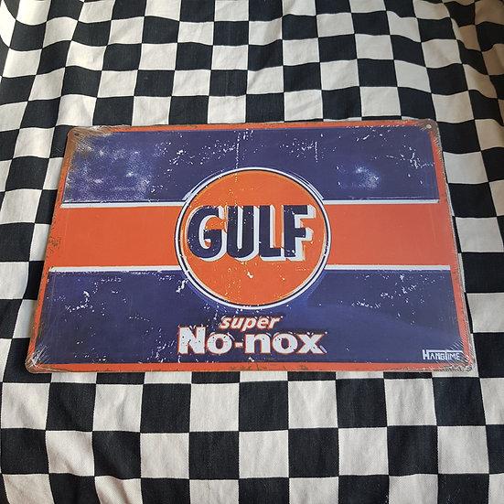 Tin Sign Repro 20x30 Gulf Super NO Nox