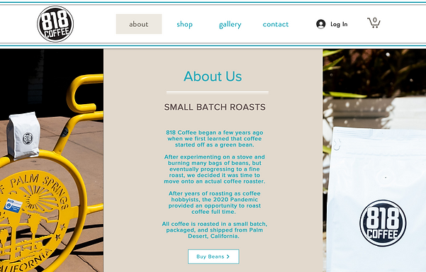 Picture of 818 Coffee new website