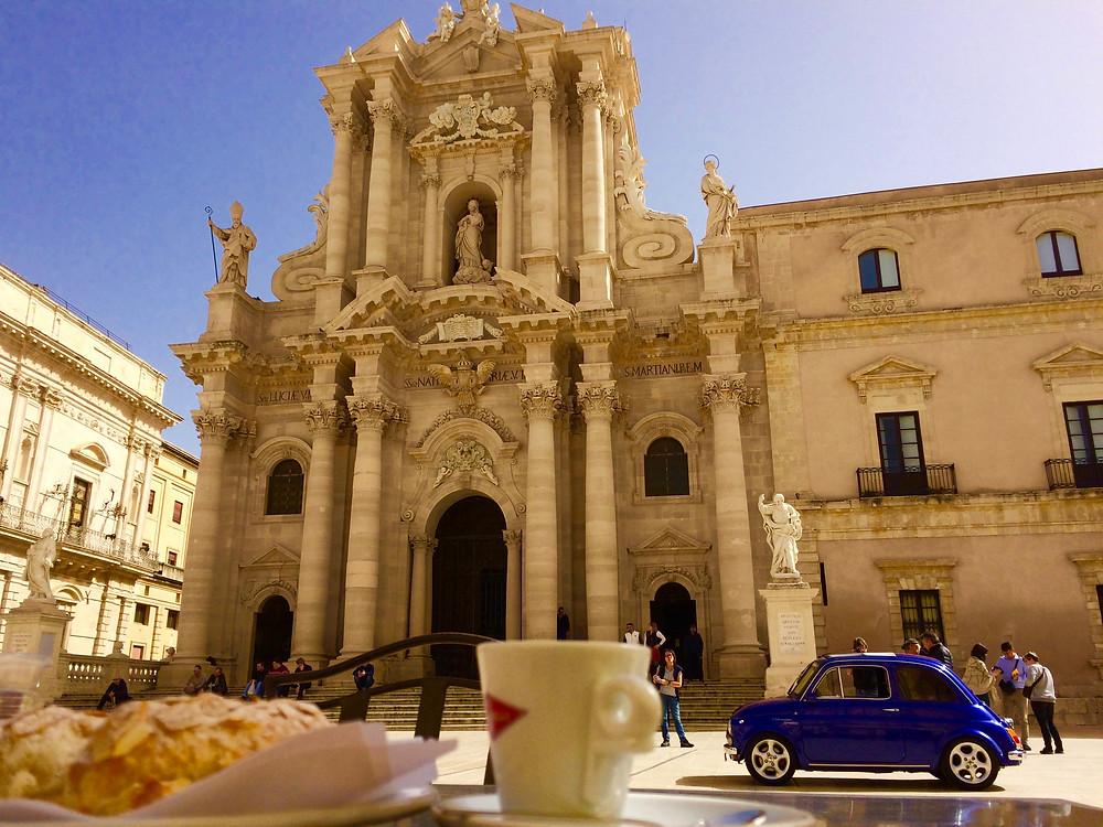 A traditional 'cornetti di mandorle' almond croissant and espresso - no milk here