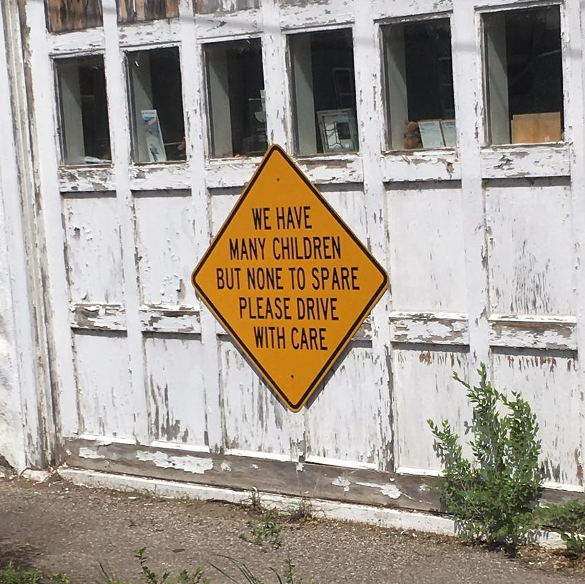 Sign in Elberta on the village hall