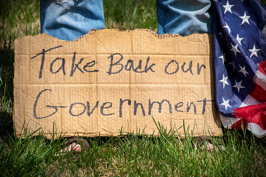 Person with Take Back Our Government pro