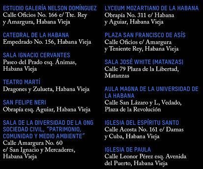 Festiva Mozart Habana SEDES y direcciones