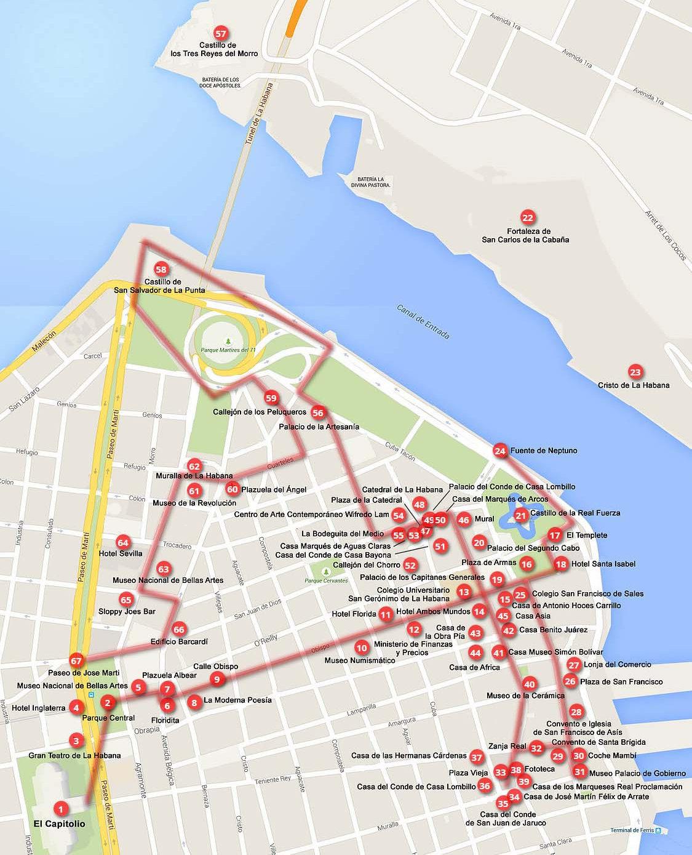 Walking Tour Of Old Havana Map