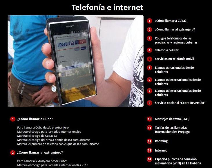 Teléfonos, internet, códigos SMS