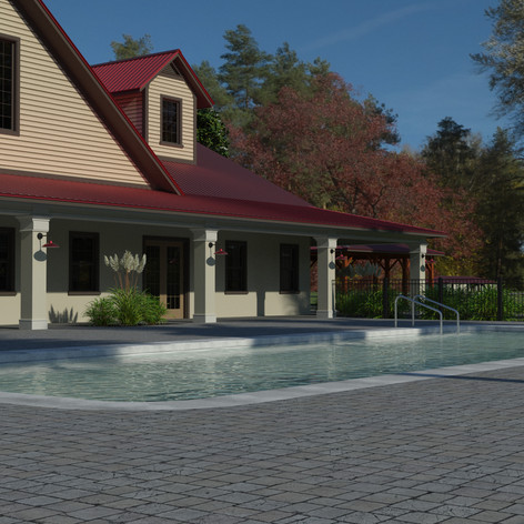 The pool and cluhouse rendering