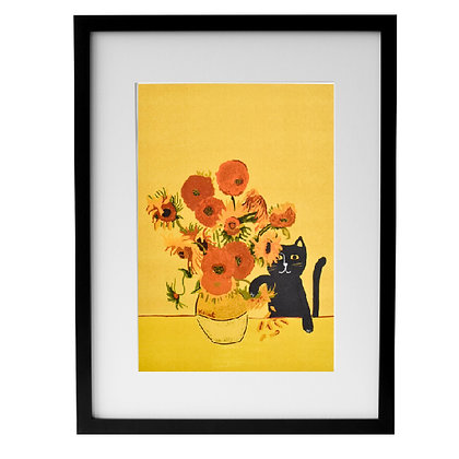Affiche SUNFLOWER CAT encadrée