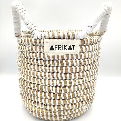 Cache-pot en paille tissée Blanc Afrikat