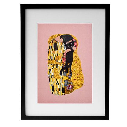 Affiche KLIMT CAT KISS encadrée