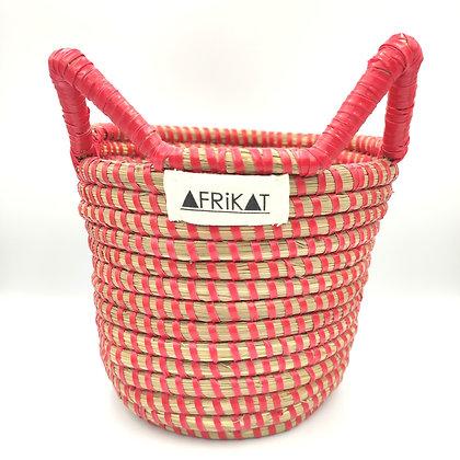 Cache-pot en paille tissée Rouge Afrikat