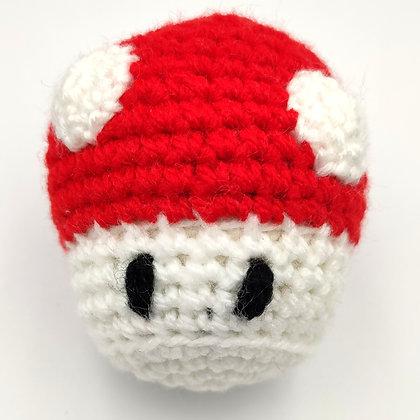Champignon Mario en crochet fourré à l'herbe à chat
