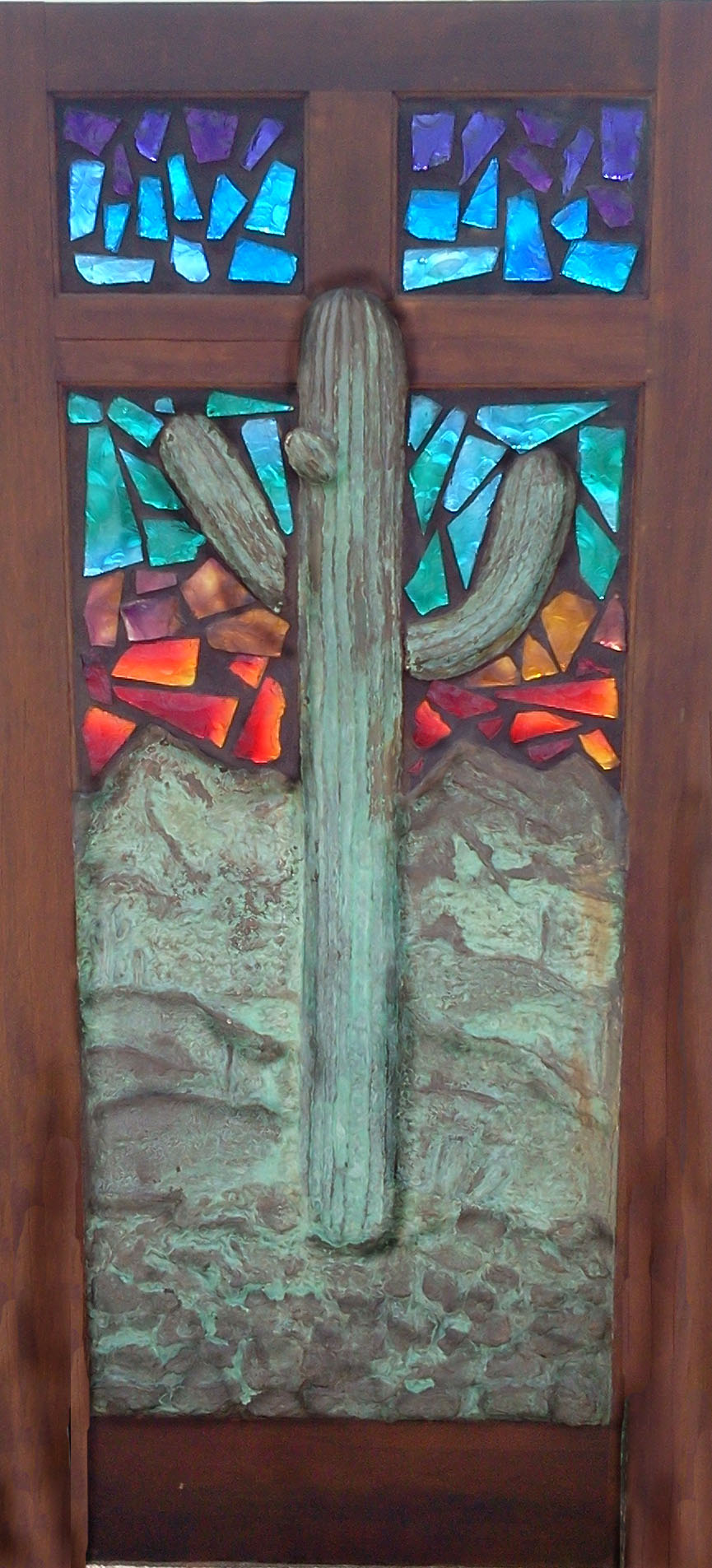 3-D Saguaro and Stained Glass Door