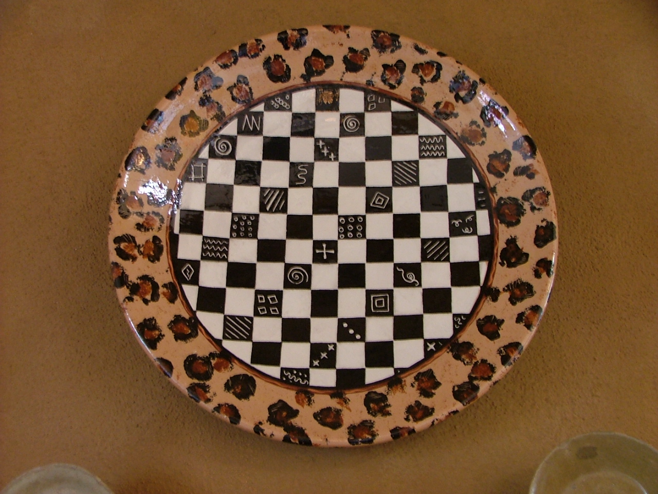 Hand-painted Checkered Platter