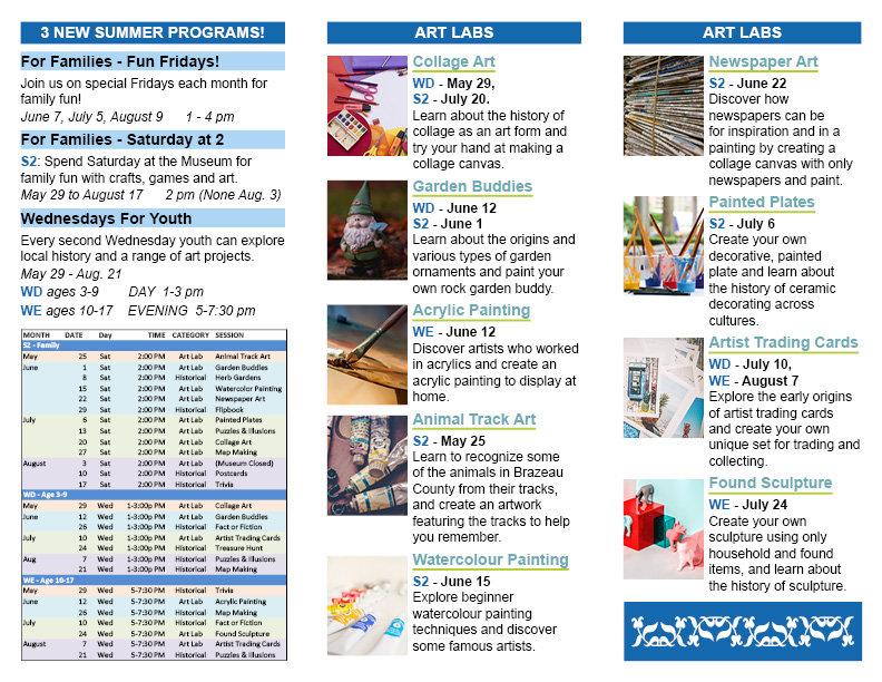 DV Museum Summer Schedule Brochure 2019