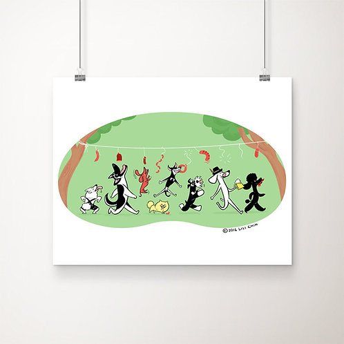 "Dogs Playing WurstSchnappen - 11""x14"" art print"