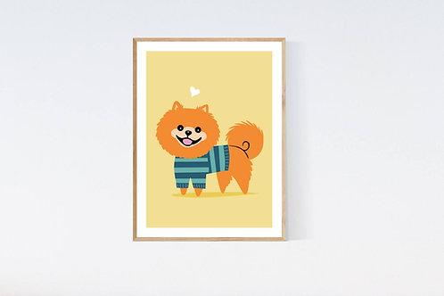 Pomeranian in a sweater - 5x7 print