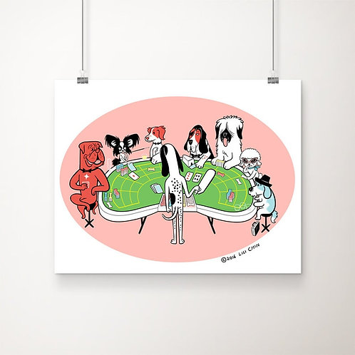 "Dogs Playing Baccarat - 11""x14"" art print"