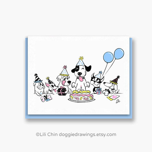 Doggie Party greeting card