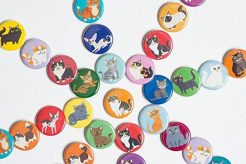 Cat Buttons - Choose 3