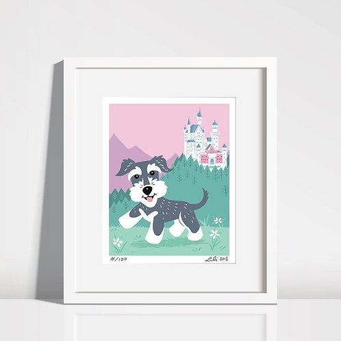 Schnauzer Puppy, Neuschwanstein Castle - 8x10 art print