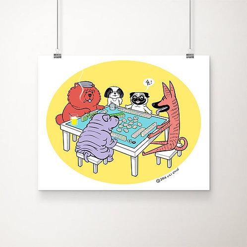 "Dogs Playing Mahjong - 11""x14"" art print"