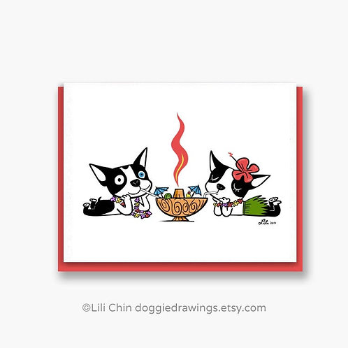 Tiki Cocktail (boston terrier) greeting card