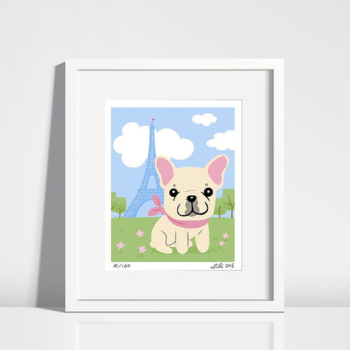 French Bulldog Puppy, Eiffel Tower - 8x10 art print